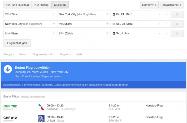 Google Flights - Screenshot - Multiflugvariante