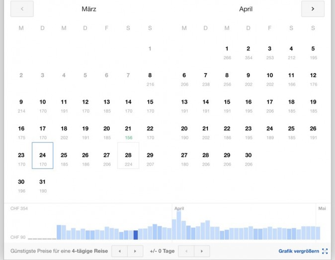Google Flights - Screenshot Kalender